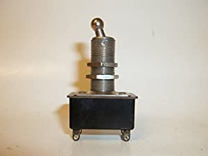 """Arrow H&H (ON)-OFF, Normally Open, Momentary On, Toggle Switch DPST, 1"""" Long Extended Tall Neck Bushing Thread, 1/2"""" Mounting Hole, Ball Handle Toggle, Solder Lugs, 6A @ 125V, USA 35-099-4 FS"""