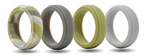 FluxActive Silicone Wedding Ring for Men (4 Band Pack) Lazer Edge Ultra Premium Design – Camo, Green, Dark Gray, Stone Gray (8, Lazer Edge – Highlander Camo, Olive Green, Charcoal Gray, Stone Gray) For Sale