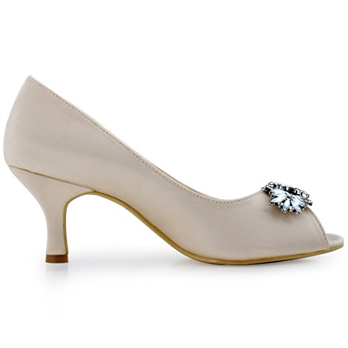 Elegantpark Mujeres Peep Toe Bombas Hoja Rhinestones Comfort Heel Satén Boda Vestido De Novia Zapatos Champagne