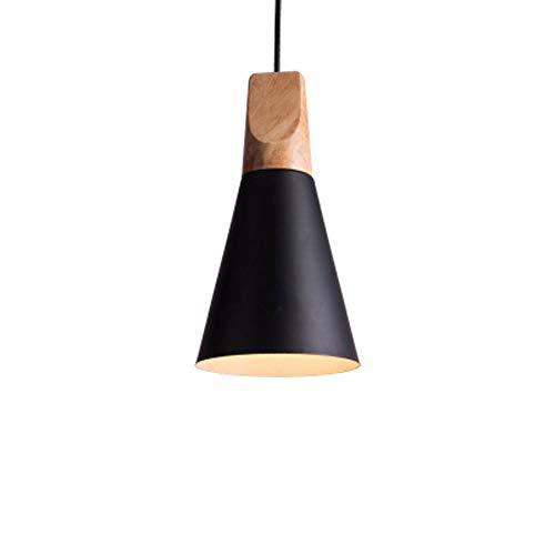 Ganeep Nordic Creative Iron Wood Pendant Lights Single Head Dining Room Small Chandelier Modern Mini Shade Housing Loft Hanging Light Fixture (Color : Black, Size : A)