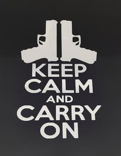 Keep Calm And Carry On Decal Vinyl Sticker|Cars Trucks Vans Walls Laptop| White |5.5 x 3.75 in|LLI032 (Airsoft Co2 Gas Blowback Glock)