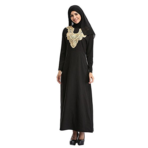 Hzjundasi islamisch Muslim Malaysia Lange Ärmel Kaftan Stickerei Dubai Kirche Gebet Kleid Turkish Bekleidung Arabia Abaya Robe Cocktail Gown Schwarz bCCFiS4Fdf