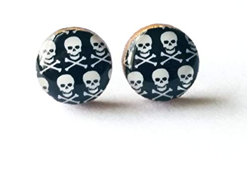 Black and white skull and crossbones wooden stud earrings, 10mm