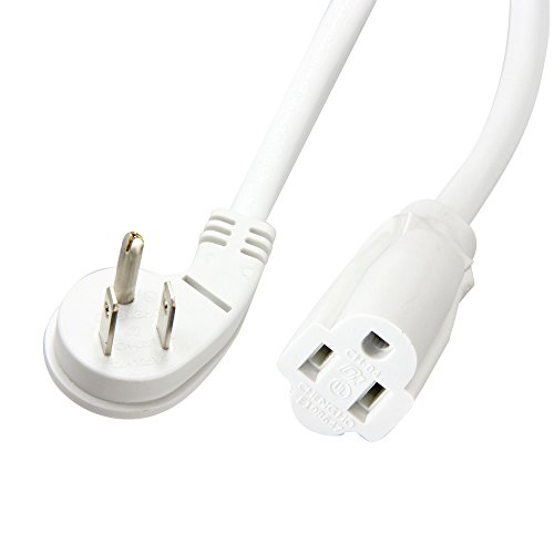 BH 1-Foot Low Profile Angled Extension Power Cord 16 AWG NEMA 5-15P to 5-15R UL Listed (White) (1 Foot)