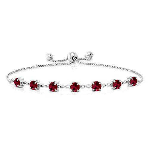 Gem Stone King 925 Sterling Silver Red Created Ruby Adjustable Tennis Bracelet For Women, 2.80 Ct Round Cut