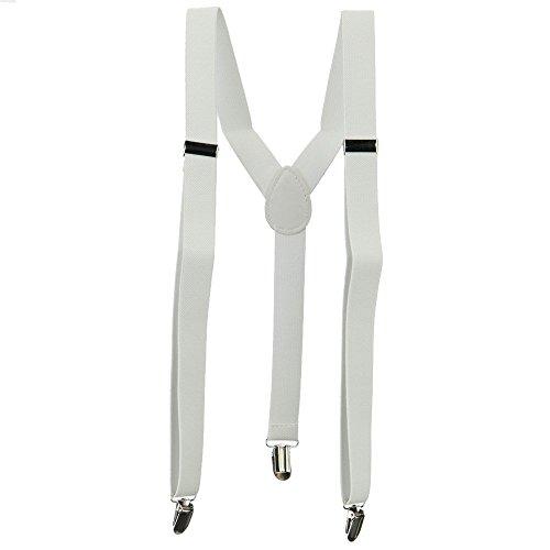 Unisex Adjustable Clip-On Suspenders Elastic Y-Shape Braces Solids Pure Color Tirantes 2.5100Cm White