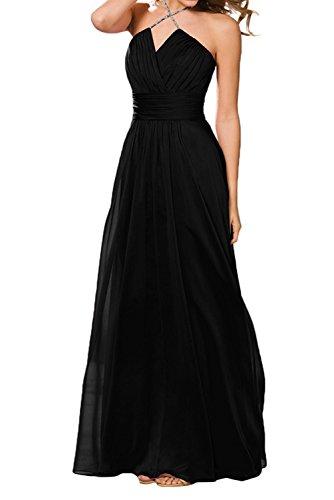 Fuchsia Lang Chiffon Abschlussballkleider Einfach Abendkleider A Rock Schwarz Linie Ballkleider Braut La Marie qU48Ew