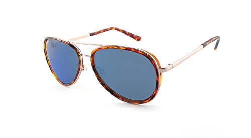 Peppers LUNA Shiny Gold Tortoise Sunglasses with Brown (Blue Mirror) Polarized - Luna Eyewear