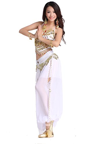 [ZLTdream Lady's Belly Dance Chiffon Banadge Top and Lantern Coins Pants White] (Belly Dance Costumes Bra)