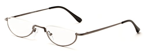 Readers.com The Lynwood +1.50 Grey Half Moon Round Reading - Lens Men Reading Half Glasses