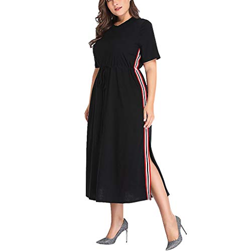 Mikilon Women's Dresses-Plain Short Sleeve V Neck Belted Side Slit Midi Work Dress Plus Size XL-5XL Black ()