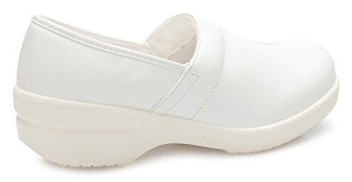 K School Pu Easy Flatform Fit Relaxed Slip Uniform On Resistant Women's OLIVIA Office Shoes Work White UwZvqdU