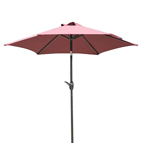 Dienspeak Updated Version 7.5 ft. Round Outdoor Market Patio Beach Umbrella with Push Button Tilt and Crank Lift Red w Cover
