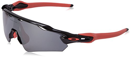 Oakley Men's OO9275 Radar EV Path Asian Fit Shield Sunglasses, Polished Black/Black Iridium Polarized, 35 ()