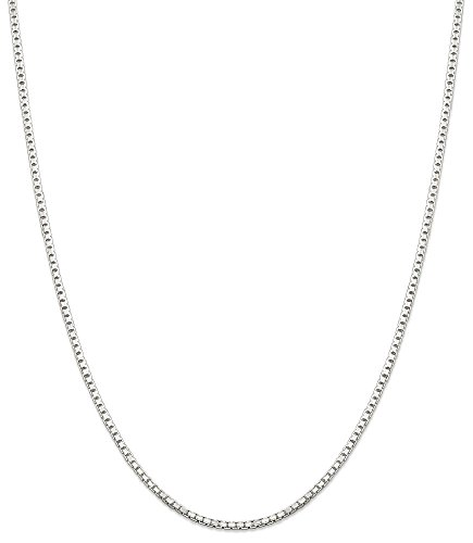 Link Sterling Silver Jewelry Box (ICE CARATS 925 Sterling Silver 1.8mm Link Box Chain Necklace 30 Inch Octagonal Fine Jewelry Gift Valentine Day Set For Women Heart)