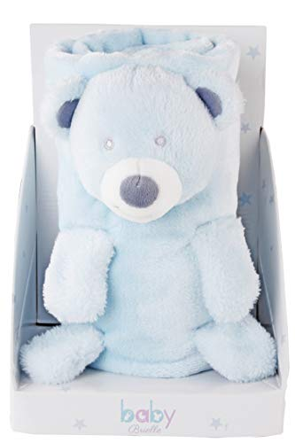 (Baby Brielle 3-in-1 Blue Teddy Bear Stuffed Animal Blanket Plush Toy Fleece Baby Shower Gift Set 35 x 30)