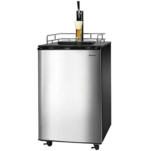 COSTWAY Full Size Kegerator, 6.1 CU. FT Single-Tap Keg Beer Cooler Refrigerator Draft Beer Dispenser R600a Compressor Cooling CO2 Regulator Casters