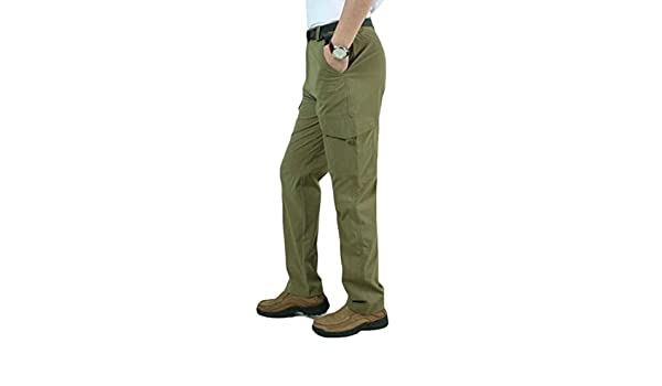 C/&H Men Rip Stop Multi Pockets Sports Straight Leg Outdoor Stretchy Cargo Pants