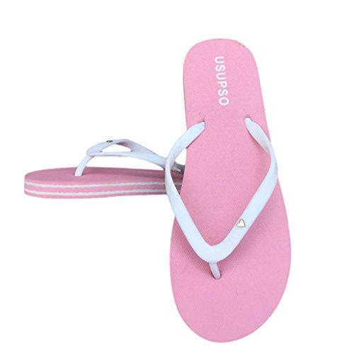 37 Couleur Plage Femmes Sandales Rose Noir de Chaussures Mode Candy Femme Tongs Chaussons JAGENIE 6qwa78Yx