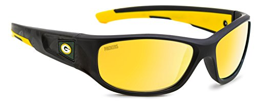 Officially Licensed NFL Sunglasses, Green Bay Packers, 3D Logo on Temple - 100% UVA, UVB & UVC - Sunglass 3d