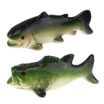 (Trout Bass Fish Figure Figurine Salt & Pepper Shaker Set, Collectible Camping Cabin Lodge Fishing Decor,)