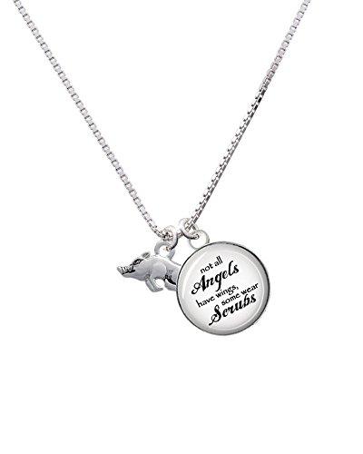 Silvertone Antiqued Razorback Angels Wear Scrubs Glass Dome Necklace, 18