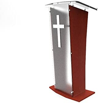 Easy Assembly Required 1803-5-FROST-NPF 48 Tall Pulpit Lectern with Pray Hand Decor FixtureDisplays Wood Podium with Frost Acrylic Front Panel