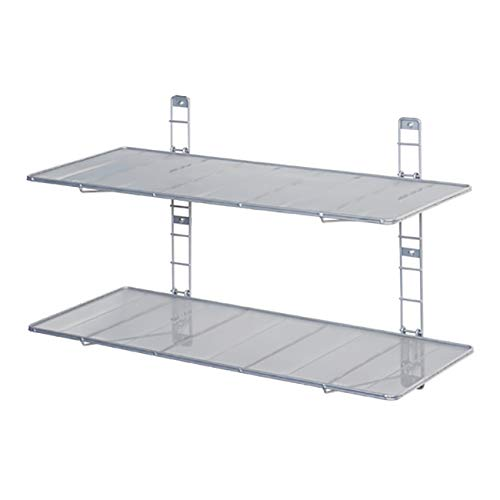 Seville Classics 2-Tier Heavy-Duty Wall Mount Floating Steel Wire Mesh Storage Shelves,