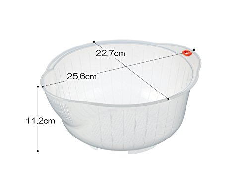 Inomata.0800 Japanese Vegetable Fruit Rice Wash Bowl, 8-Inch, Clear 2 Rice washing bowl with side and bottom drainers Dimension: 8-Inch x 9-Inch x 41/4-Inch Easy to use and clean