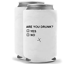 Are You Drunk | Funny Novelty Can Cooler Coolie Huggie – Set of two (2) | Beer Beverage Holder – Craft Beer Gifts…