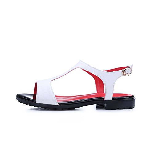 AmoonyFashion Womens Soft Leather Open Toe Low-heels Buckle Solid Sandals White 0ywMIG