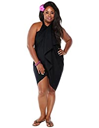 1 World Sarongs Womens PLUS Size Solid FRINGELESS Swimsuit Sarong