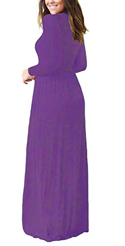 Women's Dress Maxi Purple Pockets Neck Alickson Long Fashion Casual with Short Sleeves Dresses Scoop long Sleeve vwn5Ozq