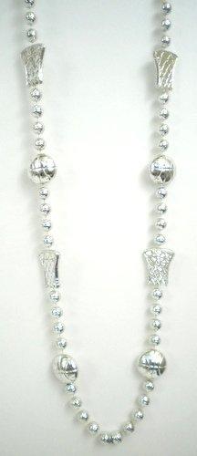 36 INCH Metallic Silver Basketball Bead Necklace (DOZEN) by Mardi Gras Spot