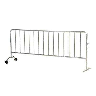 Vestil PRAIL-102-G-WF Steel Crowd Control Interlocking Barrier with 1 Wheel and 1 Flat Foot, Light Weight, 5/8