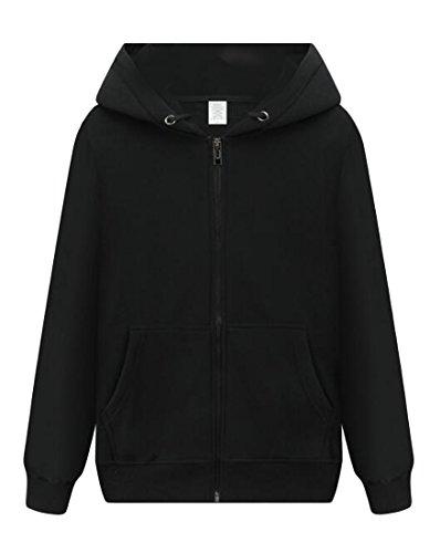 UUYUK-Men Stylish Midweight Zip Front Hooded Long Sleeve Sweatshirt Black US L -