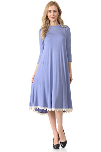 Pastel by Vivienne Women's Midi Swing Dress with Crochet Lace Trim Detail Medium Denim
