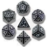 Carved Nuke Dice Set (White and Black)