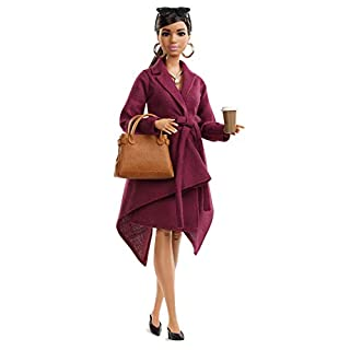 ​Barbie Collector: Doll Styled by Chriselle Lim, Wearing Burgundy Trench Dress, with Handbag and Coffee Cup Accessories, Doll Stand and Certificate of Authenticity