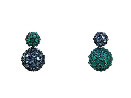(David Yurman David YURMAN ST. Silver Cable Osetra Berries Green Onyx Topaz 16 mm Earrings)
