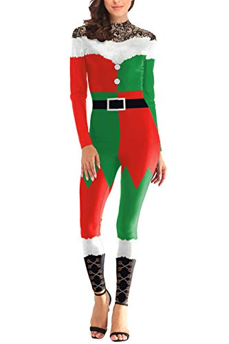 Selowin Womens Cute Christmas Costume Elf Pattern Jumpsuits One Piece Full Bodysuits Oliver Green S ()