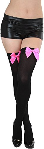 ToBeInStyle Women's Opaque Thigh Hi Stocking With Bow - Black With Hot Pink Bow]()