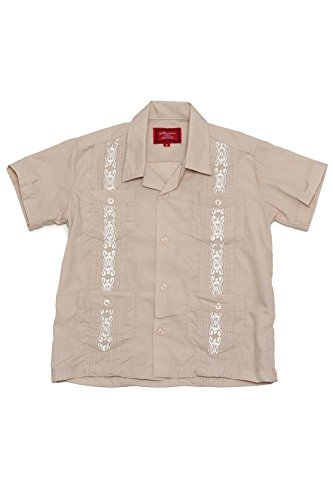 G-Style USA Boys Junior Kids Youth Guayabera Cuban Short Sleeve Collared Embroidered 4 Pocket Cotton Blend Shirt 2017-KS - Beige - 2 ()