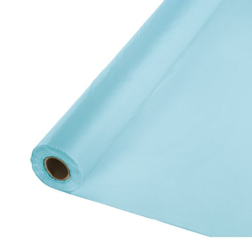 Baby Shower Table Cover - Creative Converting Roll Plastic Table Cover, 100-Feet, Pastel Blue