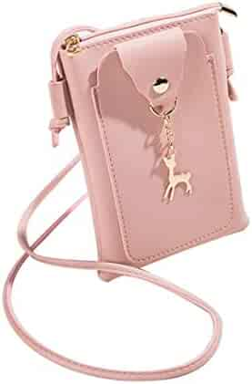 5838e3ac89 Yihaojia Leather Women Fashion Solid Color Deer Cover Crossbody Bag  Shoulder Bag Phone Coin Bag (