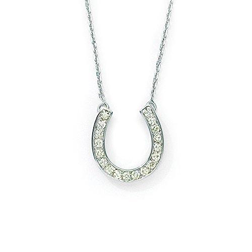 14k White Gold .25ct Diamond Horseshoe Pendant with 18