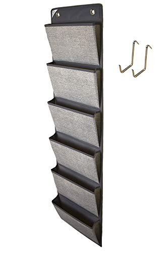 COMPONO Office Supplies Storage Organizer Includes 2 Over Door Hangers, 6 Pocket Chart for Home, Business, Clothing, and School Organizers (Gray) by COMPONO (Image #8)'