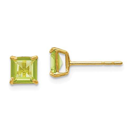 14k Yellow Gold Green Peridot 5mm Square Post Stud Earrings Fine Jewelry For Women Gift Set ()