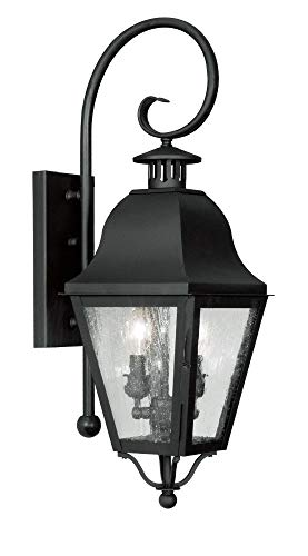 Livex Lighting 2551-04 Amwell - Two Light Outdoor Wall Sconce, Black Finish with Seeded Glass