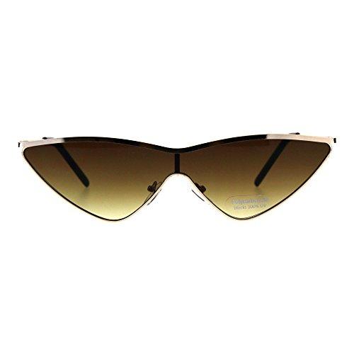 Rim Narrow Top - Womens Goth Shield Narrow Cat Eye Metal Rim Flat Top Sunglasses Gold Brown